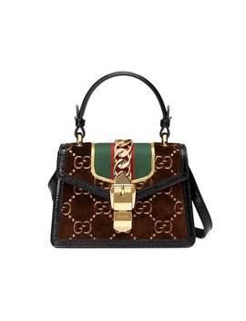 Brown Sylvie Gg Velvet Mini Bag by Gucci