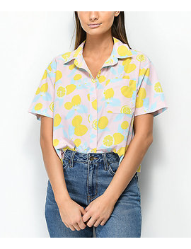 Empyre Lanikai Lemon Crop Short Sleeve Button Up Shirt by Empyre