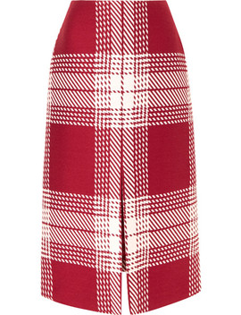 Checked Wool Blend Midi Skirt by Gabriela Hearst