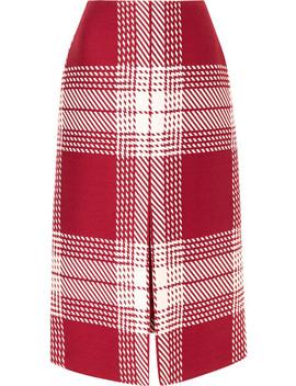 Checked Wool Blend Midi Skirt by Gabriela Hearst