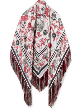 Fringed Printed Silk Twill Wrap by Gabriela Hearst