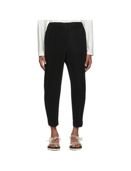 Black Tapered Trousers by Homme PlissÉ Issey Miyake