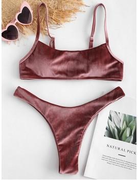 Zaful Velvet High Leg Bikini Set   Rose Gold M by Zaful