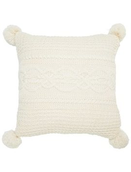 "Pillow Cover Cable Knit Pom Pom Ivory 20"" X 20"" by Indigo"