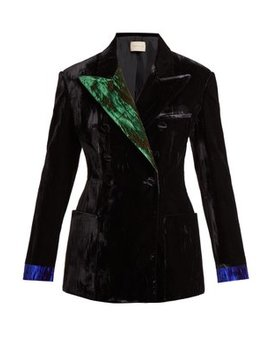 Contrast Lapel Double Breasted Velvet Blazer by Christopher Kane