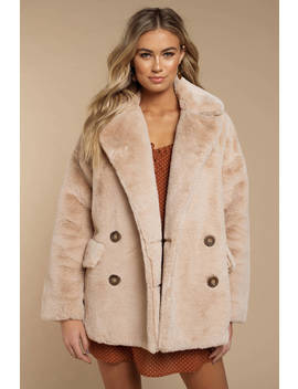 Free People Solid Kate Beige Faux Fur Coat by Tobi
