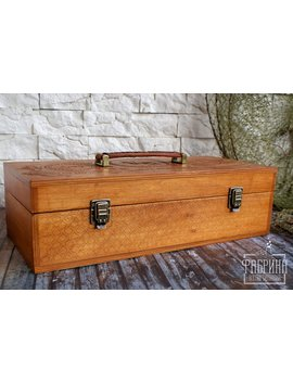 "Personalized Handmade Wooden Tackle Box ""Old School"" With A Leather Handle. Rustic Tackle Box Vintage Wood Tackle Box Best Gift For Him by Etsy"