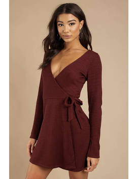Love Myself Wine Wrap Dress by Tobi