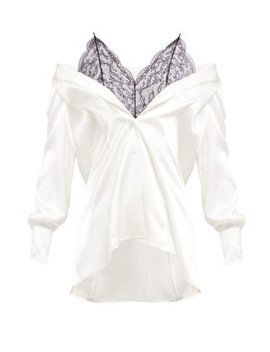 Off The Shoulder Silk And Lace Blouse by Maison Margiela