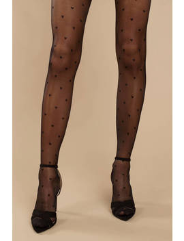 Little Hearts Black Tights by Tobi