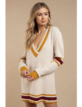 For Love And Lemons Ivy League Mustard Sweater Dress by Tobi