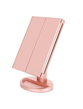 Newest 36 Led Nature Daylight Tri Fold Lighted Vanity Makeup Mirror With Touch Screen Dimming And 3 X/2 X/1 X Magnification Mirror, 180 Degree Free Rotation, Countertop Cosmetic Mirror (Rose Gold) by De Weisn