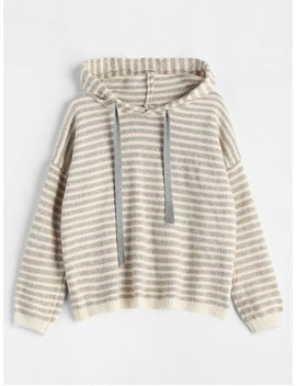 Hooded Striped Pullover Sweater   Camel Brown by Zaful