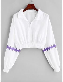 Striped Raglan Sleeve Crop Jacket   White S by Zaful