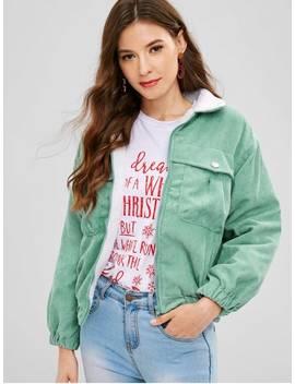 Drop Shoulder Fleece Lining Corduroy Jacket   Green S by Zaful