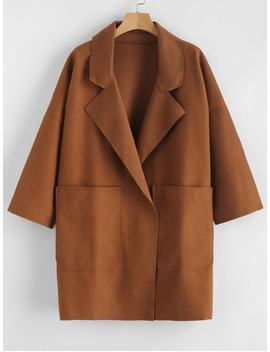 Pockets Open Front Plain Coat   Brown M by Zaful