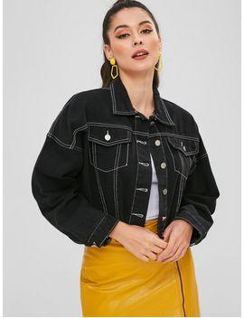 Frayed Hem Stitching Denim Jacket   Black L by Zaful