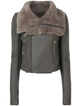 Fur Collar Leather Jacket by Rick Owens
