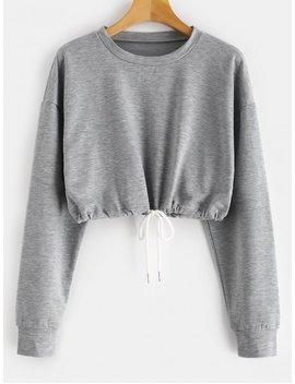 Zaful Crop Drop Shoulder Sweatshirt   Gray Xl by Zaful