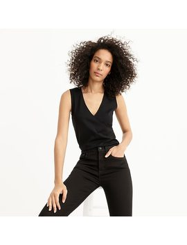 Faux Wrap Sleeveless Top In Eco Ponte by J.Crew