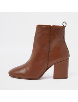 Light Brown Wide Fit Leather Square Toe Boots by River Island