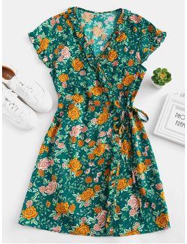 Floral Ruffle Wrap Dress   Greenish Blue S by Zaful