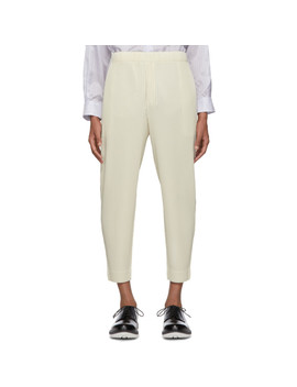 Off White Tapered Trousers by Homme PlissÉ Issey Miyake
