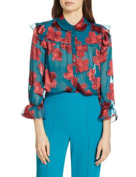 Ziggy Ruffle Sleeve Blouse by Alice + Olivia