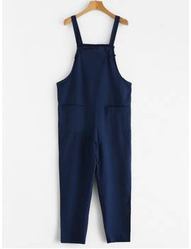 Tie Strap Patch Pocket Overalls   Deep Blue M by Zaful