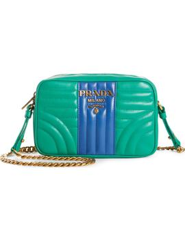 Diagrammed Colorblock Leather Camera Bag by Prada