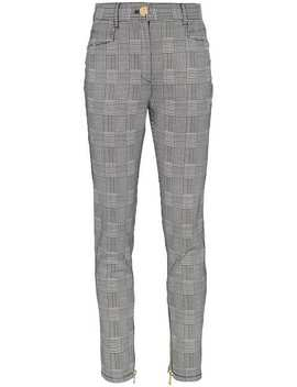 Checked High Waisted Cotton Blend Trousers by Balmain