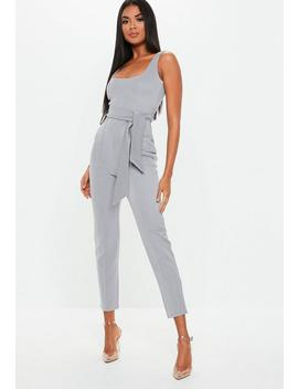 Grey Belted Pintuck Slim Leg Jumpsuit by Missguided