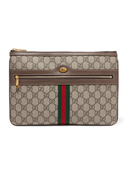 Ophidia Medium Textured Leather Trimmed Printed Coated Canvas Pouch by Gucci