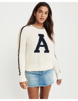 Intarsia Varsity Crewneck Sweater by Abercrombie & Fitch