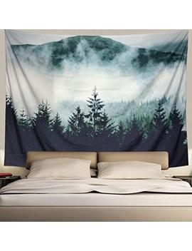 Heopapin Misty Forest With Mountains Tapestry Fog Fantasy Magical Trees Landscape Wall Hanging Mandala Bohemian Wall Tapestry 3 D Vision Nature Tree Tapestry Wall Hanging by Heopapin