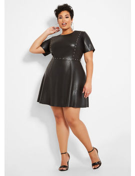 Studded Pleather Dress by Ashley Stewart