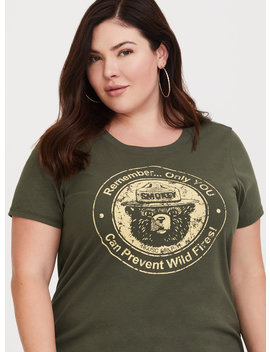 Olive Smokey The Bear Slim Fit Tee by Torrid