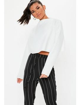 White Ribbed High Neck Cropped Sweatshirt by Missguided