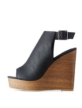 Open Toe Wedge Sandals by Charlotte Russe