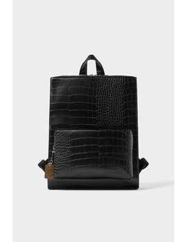 Black Croc Embossed Backpack  Travel Bags Man New Collection by Zara