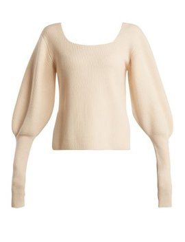 Lynette Balloon Sleeve Ribbed Knit Wool Sweater by Khaite