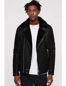 All Saints Black Shearling Leather Jacket by Next