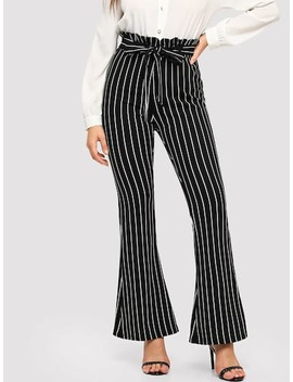 Waist Belted Flare Pants by Shein