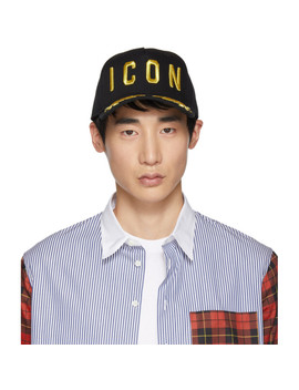 Black & Gold 'icon' Baseball Cap by Dsquared2