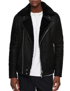 Myres Regular Fit Leather Jacket With Genuine Shearling by Allsaints