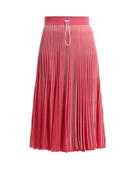 High Rise Pleated Jersey Midi Skirt by Valentino