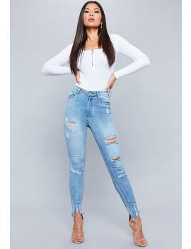 Jean Skinny Destroy Bleu Authentique Sinner by Missguided