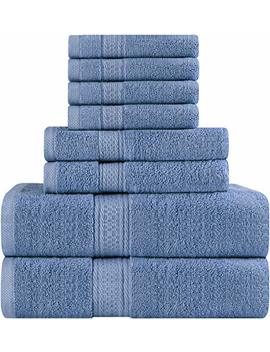 Utopia Towels Premium 8 Piece Towel Set (Electric Blue); 2 Bath Towels, 2 Hand Towels And 4 Washcloths   Cotton   Hotel Quality, Super Soft And Highly Absorbent by Utopia Towels