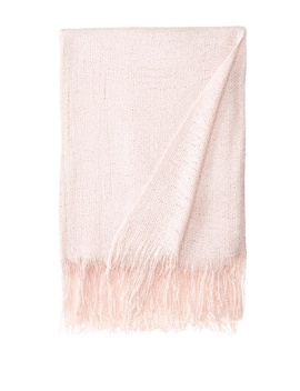 "Belle Epoque 50"" X 70""+4"" Fringe Solid Acrylic Throw, Light Pink by Belle Epoque"