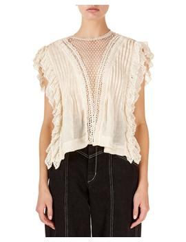 Roya Sleeveless Lattice Lace Neck Blouse by Isabel Marant